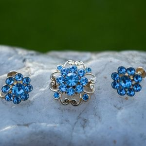 Light Blue Rhinestone Flower Brooch and Earrings